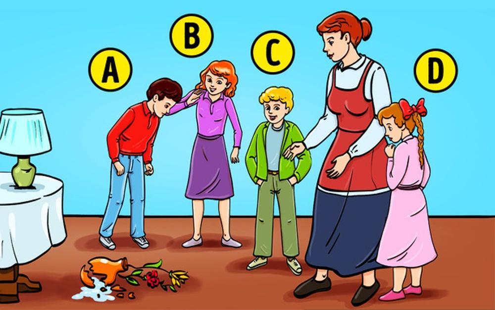 Тест: Как Вы считаете, кто из детей на картинке разбил вазу?